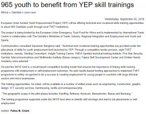965 youth to benefit from YEP skill trainings - COVER IMAGE