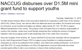 NACCUG disburses over D1.5M mini grant fund to support youths - COVER IMAGE