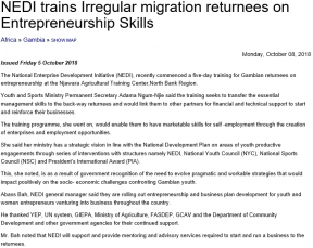 NEDI trains Irregular migration returnees on Entrepreneurship Skills - COVER IMAGE