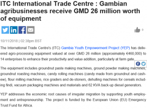 Gambian agribusinesses receive GMD 26 million worth of equipment - COVER IMAGE