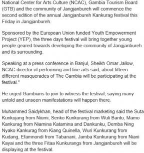 Gambia: Second Jangjanbureh Kunkurang Festival to Start Tomorrow - COVER IMAGE