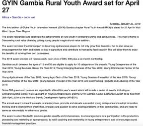 GYIN Gambia Rural Youth Award set for April 27 - COVER IMAGE