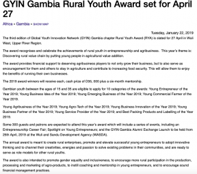 GYIN Gambia Rural Youth Award set for April 27 - COVER IMAGE